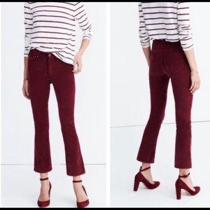 MADEWELL Cali Demi Boot Velvet Jeans sz 29